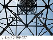Купить «Опора ЛЭП, вид снизу», фото № 3169497, снято 7 мая 2011 г. (c) Надежда Болотина / Фотобанк Лори