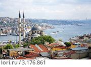 Купить «Вид на Новую мечеть, залив Золотой Рог и пролив Босфор в Стамбуле, Турция», фото № 3176861, снято 3 мая 2008 г. (c) Михаил Марковский / Фотобанк Лори