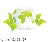 Купить «Стеклянный глобус среди зеленых листьев - концепция экологии», иллюстрация № 3179137 (c) Евгения Малахова / Фотобанк Лори