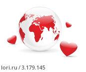 Купить «Планета любви - концепция Дня Святого Валентина», иллюстрация № 3179145 (c) Евгения Малахова / Фотобанк Лори