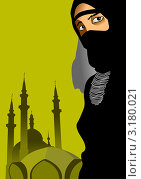 Купить «Арабская женщина в парандже на фоне мечети», иллюстрация № 3180021 (c) Vasiliev Sergey / Фотобанк Лори