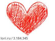 Купить «Красное сердце, нарисованное карандашом на белом фоне», фото № 3184345, снято 12 декабря 2019 г. (c) Anelina / Фотобанк Лори
