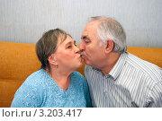 Бабушка и дедушка целуются. Стоковое фото, фотограф Куликова Вероника / Фотобанк Лори