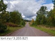 Купить «Сельская дорога», фото № 3203821, снято 25 сентября 2009 г. (c) Михаил Смиров / Фотобанк Лори