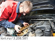 Купить «Автомеханик ремонтирует автомобиль», фото № 3208581, снято 19 сентября 2019 г. (c) Дмитрий Калиновский / Фотобанк Лори