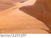Вид на дюны из песка в жаркой пустыне. Стоковое фото, фотограф Николай Винокуров / Фотобанк Лори