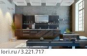 Купить «Современная кухня, 3D», видеоролик № 3221717, снято 5 февраля 2012 г. (c) Виктор Застольский / Фотобанк Лори