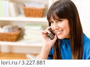 Темноволосая девушка общается по мобильному телефону дома. Стоковое фото, фотограф CandyBox Images / Фотобанк Лори