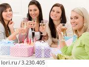 Купить «Подруги на дне рождения пьют шампанское», фото № 3230405, снято 29 января 2011 г. (c) CandyBox Images / Фотобанк Лори