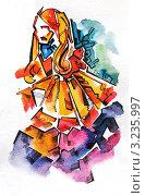 Купить «Девушка. Акварель.», иллюстрация № 3235997 (c) Екатерина Шелыганова / Фотобанк Лори