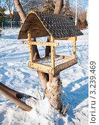 Купить «Кормушка для птиц висит на дереве», эксклюзивное фото № 3239469, снято 7 февраля 2012 г. (c) Игорь Низов / Фотобанк Лори