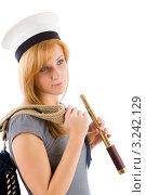 Купить «Подзорная труба в руке молодой женщины в одежде морского стиля», фото № 3242129, снято 17 марта 2011 г. (c) CandyBox Images / Фотобанк Лори