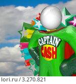 """Купить «3D-человечек """"Капитан Наличные"""" на фоне облаков», иллюстрация № 3270821 (c) Chris Lamphear / Фотобанк Лори"""