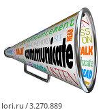 Купить «Мегафон с написанными на нем словами, связанными с общением», иллюстрация № 3270889 (c) Chris Lamphear / Фотобанк Лори