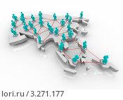 Купить «3D-карта Азии и связи между человечками на ней», иллюстрация № 3271177 (c) Chris Lamphear / Фотобанк Лори