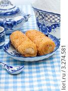 Купить «Русские фаршированные блины на гжельской посуде», фото № 3274581, снято 29 марта 2011 г. (c) ElenArt / Фотобанк Лори