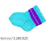 Купить «Вязаный голубой носок», фото № 3280825, снято 1 июля 2010 г. (c) Резеда Костылева / Фотобанк Лори
