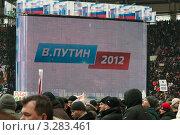 Москва. Митинг в поддержку В.В. Путина. 23 февраля 2012. Путин - 2012. Редакционное фото, фотограф Ирина Фирсова / Фотобанк Лори