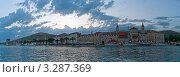 Купить «Панорама, набережная старого города вечером на закате, Трогир, Хорватия, Адриатика», фото № 3287369, снято 17 июня 2010 г. (c) Alexey Kotikov / Фотобанк Лори