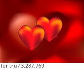 Два красных сердца. Стоковая иллюстрация, иллюстратор Юлия Петрова / Фотобанк Лори