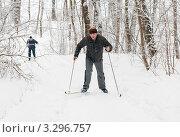 Мужчина на лыжах поднимается в горку по лесной тропе в сильный  снегопад. Стоковое фото, фотограф Игорь Низов / Фотобанк Лори
