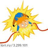 Купить «Мультяшная фигурка держит разорванный электрический провод», иллюстрация № 3299101 (c) Алексей Зайцев / Фотобанк Лори