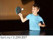 Купить «Мальчик играет в настольный теннис», фото № 3299897, снято 18 декабря 2010 г. (c) Losevsky Pavel / Фотобанк Лори