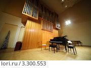 Купить «Черный концертный рояль в органном зале», фото № 3300553, снято 26 марта 2019 г. (c) Losevsky Pavel / Фотобанк Лори