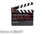Купить «Электронная кинохлопушка с таймером и датой на белом фоне», фото № 3300877, снято 27 января 2011 г. (c) Losevsky Pavel / Фотобанк Лори