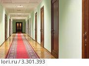 Купить «Длинный коридор с коричневыми деревянными дверями, дверью в конце коридора и красной ковровой дорожкой на полу», фото № 3301393, снято 8 ноября 2010 г. (c) Losevsky Pavel / Фотобанк Лори