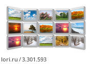 Купить «Коллаж из фотографий пейзажей в разное время года», фото № 3301593, снято 7 октября 2009 г. (c) Losevsky Pavel / Фотобанк Лори