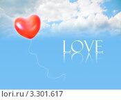 """Купить «Воздушный шар в форме сердца и слово """"Love"""" на фоне неба с облаками», фото № 3301617, снято 9 марта 2010 г. (c) Losevsky Pavel / Фотобанк Лори"""