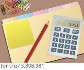 Канцелярские принадлежности на рабочем столе. Стоковая иллюстрация, иллюстратор Michael Travers / Фотобанк Лори