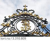Вензель Екатерины I на решетке в Царском Селе (2005 год). Редакционное фото, фотограф Михаил Карташов / Фотобанк Лори