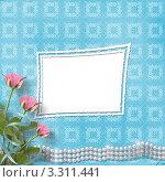 Рамка на голубом фоне с розами и жемчугом. Стоковая иллюстрация, иллюстратор Lora Liu / Фотобанк Лори