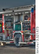 Купить «Комплектация пожарной машины HDR», фото № 3321673, снято 17 февраля 2012 г. (c) Королевский Василий Федорович / Фотобанк Лори