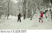 Молодые люди играют в снежки. Стоковое видео, видеограф Владимир Никулин / Фотобанк Лори