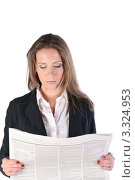 Купить «Девушка в деловом костюме читает газету», фото № 3324953, снято 21 мая 2011 г. (c) Elena Monakhova / Фотобанк Лори
