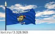 Купить «Флаг штата Висконсин, США», видеоролик № 3328969, снято 8 марта 2012 г. (c) Михаил / Фотобанк Лори