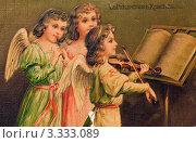 Купить «Старинная дореволюционная рождественская открытка.Дети ангелочки играют музыку.», иллюстрация № 3333089 (c) Игорь Низов / Фотобанк Лори