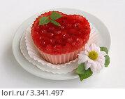 Желейное пирожное с красной смородиной на белом фоне. Стоковое фото, фотограф Чукова Жанна / Фотобанк Лори