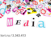 """Купить «Слово """"медиа"""", выложенное из вырезанных букв», фото № 3343413, снято 23 января 2012 г. (c) Воронин Владимир Сергеевич / Фотобанк Лори"""