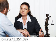 Купить «На приеме у юриста», фото № 3351097, снято 3 сентября 2018 г. (c) Erwin Wodicka / Фотобанк Лори
