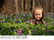 Девочка среди разноцветных цветов. Стоковое фото, фотограф Юлия Гусакова / Фотобанк Лори