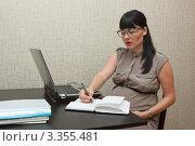 Купить «Беременная деловая женщина работает», фото № 3355481, снято 12 августа 2011 г. (c) Сергей Дубров / Фотобанк Лори