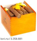 Купить «Коробка кубинских сигар сорта Cohiba размера Robusto», фото № 3358881, снято 26 февраля 2012 г. (c) Сергей Дубров / Фотобанк Лори