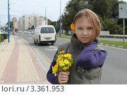Девочка с цветком в волосах на фоне дороги и машины (2011 год). Редакционное фото, фотограф Павел Михеев / Фотобанк Лори