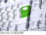 Купить «Компьютерная клавиатура с зеленой кнопкой, на которой изображено облако», фото № 3362649, снято 11 июня 2010 г. (c) Sergey Nivens / Фотобанк Лори