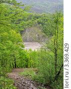 Купить «Вид сверху на долину реки Аше в окрестностях аула Тхагапш», фото № 3369429, снято 6 мая 2011 г. (c) Анна Мартынова / Фотобанк Лори