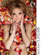 Купить «Сексуальная девушка в чёрном белье лежит на лепестках роз», фото № 3372045, снято 29 апреля 2010 г. (c) Сергей Сухоруков / Фотобанк Лори